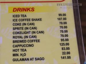 drinks menu calauan isdaan park laguna