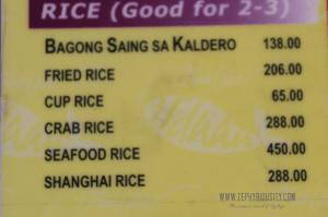 rice menu calauan isdaan park