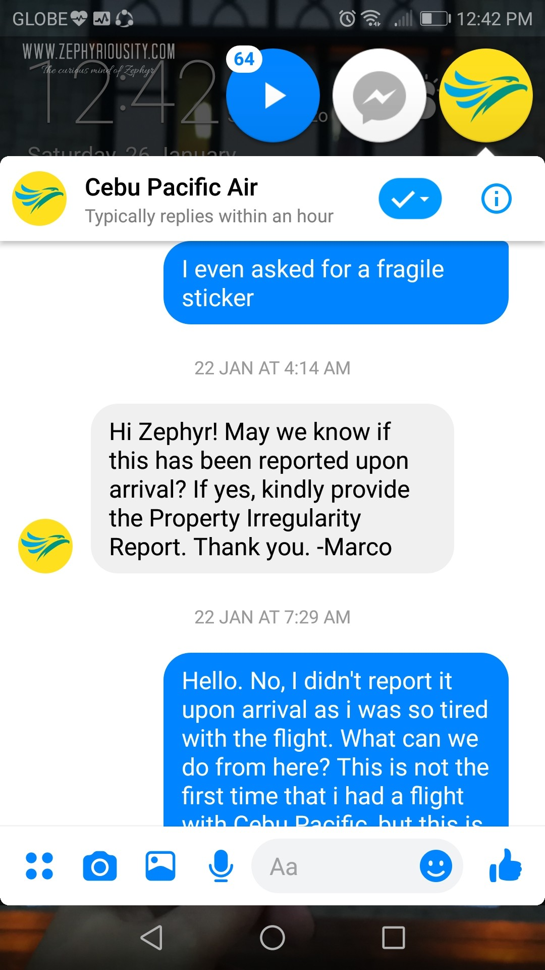 airline damaged baggage conversation cebu pacific messenger