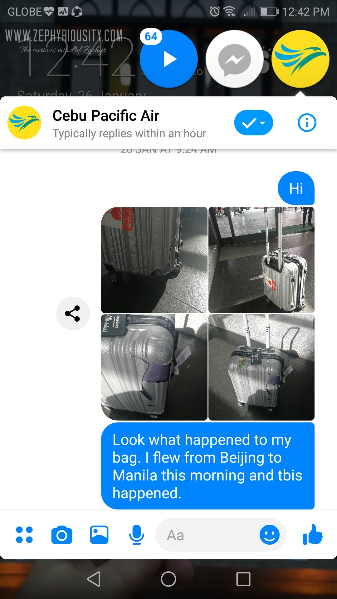 airline damaged baggage conversation cebu pacific